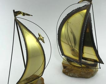 DeMott Sailboats PAIR Alabaster Welded Brass Sculptures