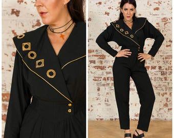Vintage 1980s Jumpsuit / Gold details / Size M