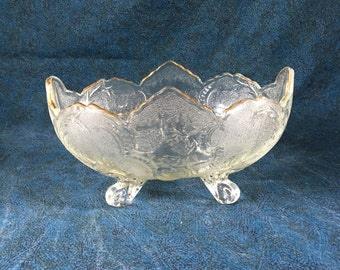 Vintage Jeannette Glass Lombardi Pattern Oval Footed Bowl with Fall Leaves and Gold Trim