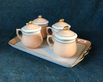 Vintage Pink Pots De Creme Set from Horchow Neiman Marcus, 4 Lidded Cups with Gold Trimmed Tray