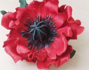 Leather Poppy Flower Hair clip, Flower Clip, barrette, womens gift, leather flower, for her, wedding anniversary, Mothers Day gift