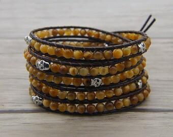 yellow tiger eye agate bracelet skull beads bracelet golden tiger eye bracelet skull bracelet leather wrap bracelet Boho bracelet SL-0605