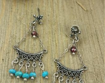 Vintage Turquoise Stone Chandelier Earrings