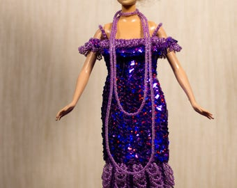 Barbie clothes Barbie crochet Handmade Barbie Sequins dress Beaded Ball Gown barbie historical