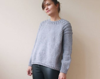 Oversize knitted sweater | Chunky knit sweater | Grey merino pullover | Long raglan sleeves sweater | Bohemian oversized pullover| Handknit