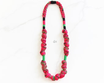 Fucsia Watermelon Rope Necklace, Braided Long Necklace, Statement Necklace, Thread Necklace, Boho Necklace, Handmade