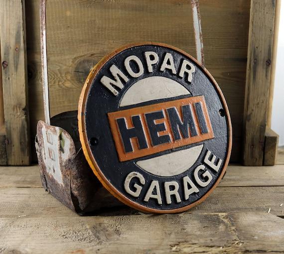 Vintage Style Mopar HEMI cast Iron sign, Mopar HEMI garage sign, motorsports sign,vintage car sign,Man cave sign, garage sign,Primitive sign