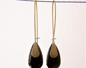 Black enameled sequin drop earrings