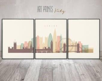 London 3 pieces wall art, posters, London skyline set of 3 prints, large wall art, travel decor, home decor, Gift, ArtPrintsVicky