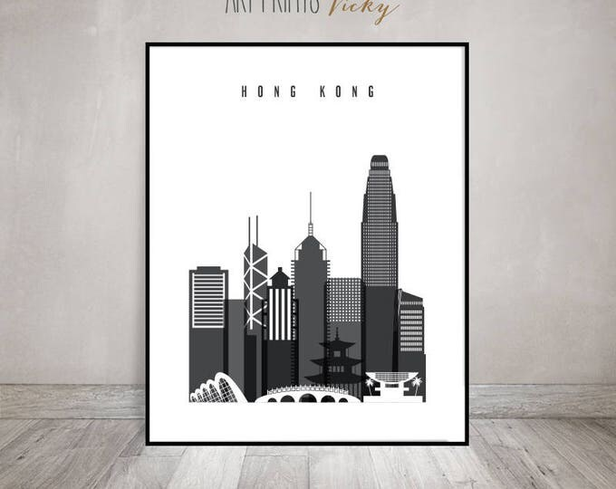 Hong Kong poster, Print, Black and white Wall art, Travel, China cityscape, Hong Kong skyline, City poster, Gift, Home Decor, ArtPrintsVicky