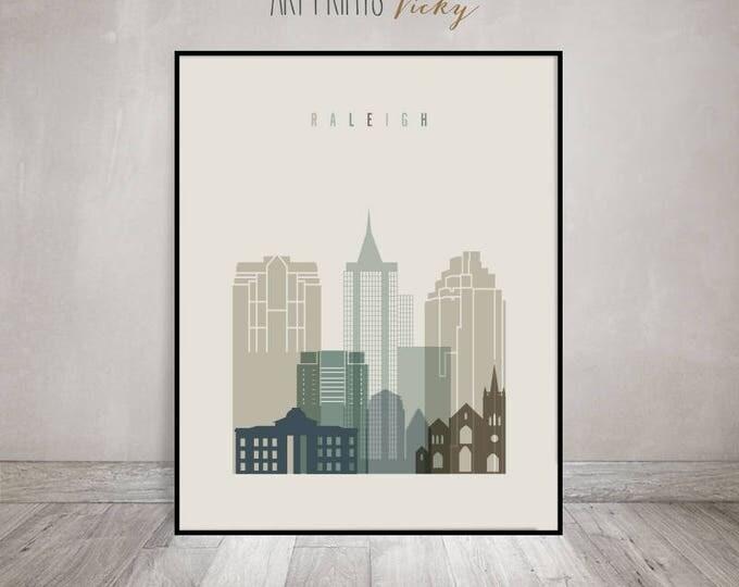 Raleigh art print, Raleigh poster, Raleigh skyline, City print, travel poster, Raleigh North Carolina cityscape, Home Decor, ArtPrintsVicky