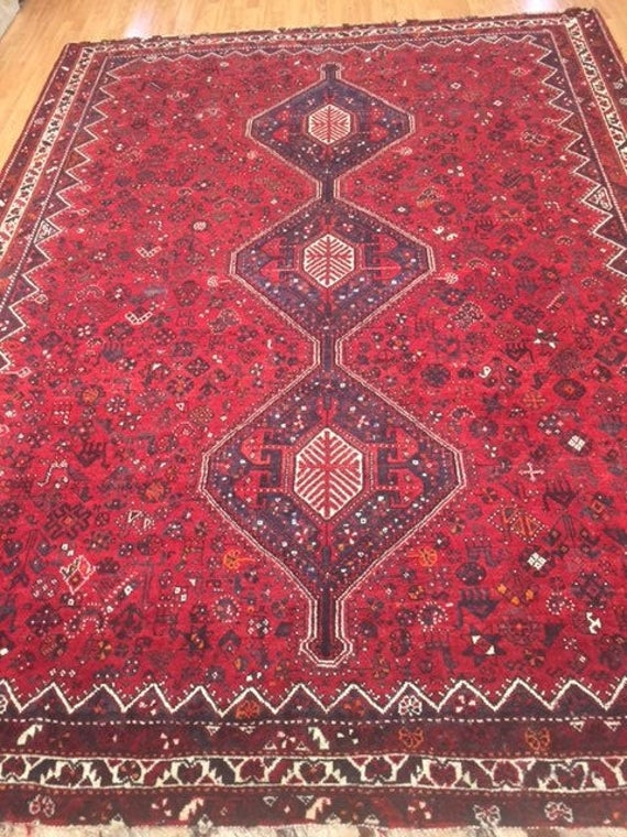 "7'6"" x 10' Persian Shiraz Oriental Rug - 1970s - Hand Made - 100% Wool Pile"