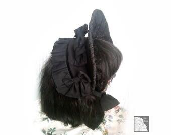 Gothic Lolita Fashion Black Half-Bonnet with Flower brooch