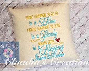 """6""""x10"""" and 8""""x12"""" Home, Family, Blessing Embroidery Saying Design, Reading Pillow Embroidery Saying"""