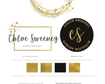 Gold Circle Logo, Logo Design, Premade logo, Branding kit, Logo, Branding Package, Watermark Logo, Watermark, Gold Logo