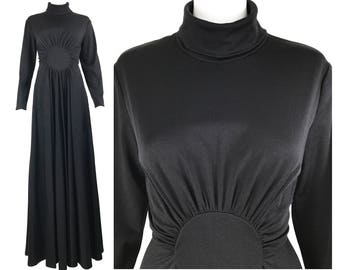 Vintage Black 1970s Turtle Neck Waist Pleat Gown Collar Maxi Dress