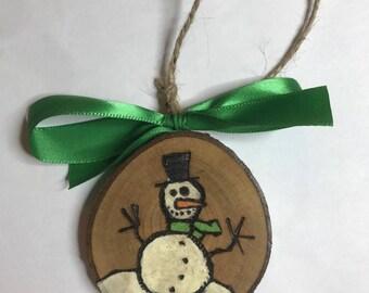 Quirky Snowman Ornament, Wood Slice Ornament, Wood Burned Ornament, Christmas, Handmade