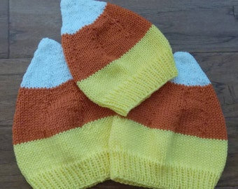 Hand Knitted Candy Corn Hat
