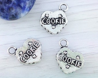 Cookie Charms, Heart Charms, 5 or 10 Pcs, Antique Silver, Biscuit Charms, Food Charms, CH308