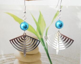 Pearl turquoise fan earrings
