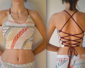 Backless crop top festival boho hippie Burning Man tribal clothing woman yoga bra summer top festival clothes psytrance