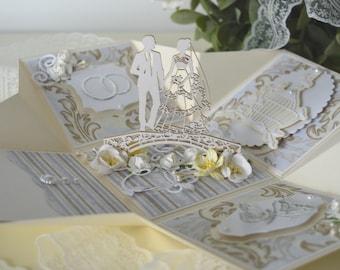 Elegant exploding wedding box with newlyweds, Explosion wedding box card, Wedding gift, Wedding gift box, Wedding congratulations card
