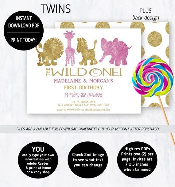 Twin First Birthday Invitation, 1st Birthday Zoo Animals
