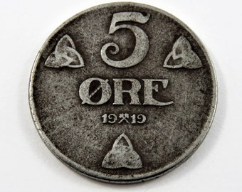 Norway 1919 5 Ore Iron Coin.