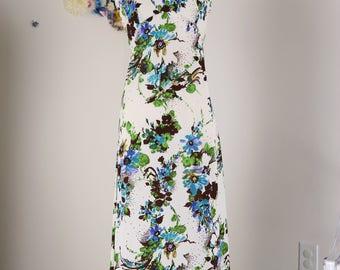 1970s Dress - Floral Maxi Dress - Sleeveless - Boho - Festival - Garden Party Vintage Dress - Summer Spring Dress - Size Small Medium