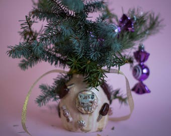 Porcelain hand-painted cats and kittens and sweets vase , perfect ceramics gift for Christmas