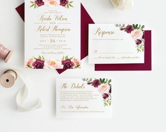 Burgundy Rustic Floral Wedding Invitation, Invitation Suite, Marsala Wedding Invitation, Editable Wedding Invite, Instant Download