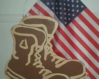 Soldier Boots Wooden Door Hanger