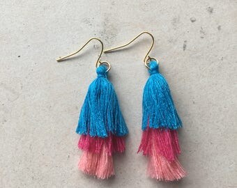 Pink and Blue Tiered Tassel Earrings