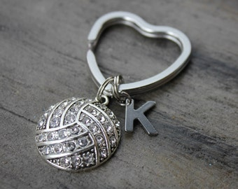 volleyball keychain, volleyball initial keychain, rhinestone volleyball keychain, volleyball player gift, personalized volleyball keychain
