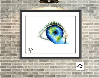 Eye World Print - 8x10 Art Print - Unique Wall Decor - Print of a Painting - Fine Art Prints - Gifts under 20 - Gift for Him - Gift for Her