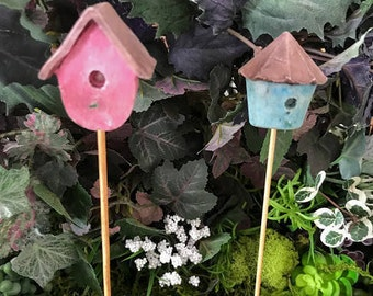 Miniature Folk Bird House - Your choice of Pink OR Blue!