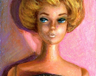 Bubblecut Barbie Blonde, 1962 - signed limited edition print