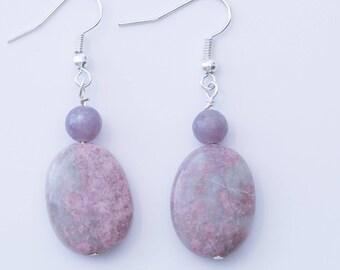 Rhodonite Earrings, Reiki Jewelry, Pink and Purple, Lepidolite Earrings, Reiki Earrings, Pink Earrings, Gemstone Earrings, Gemstones, Reiki