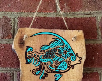 Turquoise Woodburned Painted Fish Sign