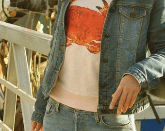 Cream heather pink sweatshirt  -  printed with a crab,from an original artist's painting.