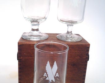 American Airlines and Frontier Airlines 1st class wine glasses, Wine, Cordial Night Cap, champaigne, aviation, Stemware