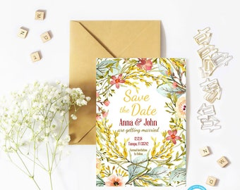 Floral Save the Date Template, Save the Date Template, Boho Save the Date Template, You Edit, Rustic Save the Date Template, DIY Save Date