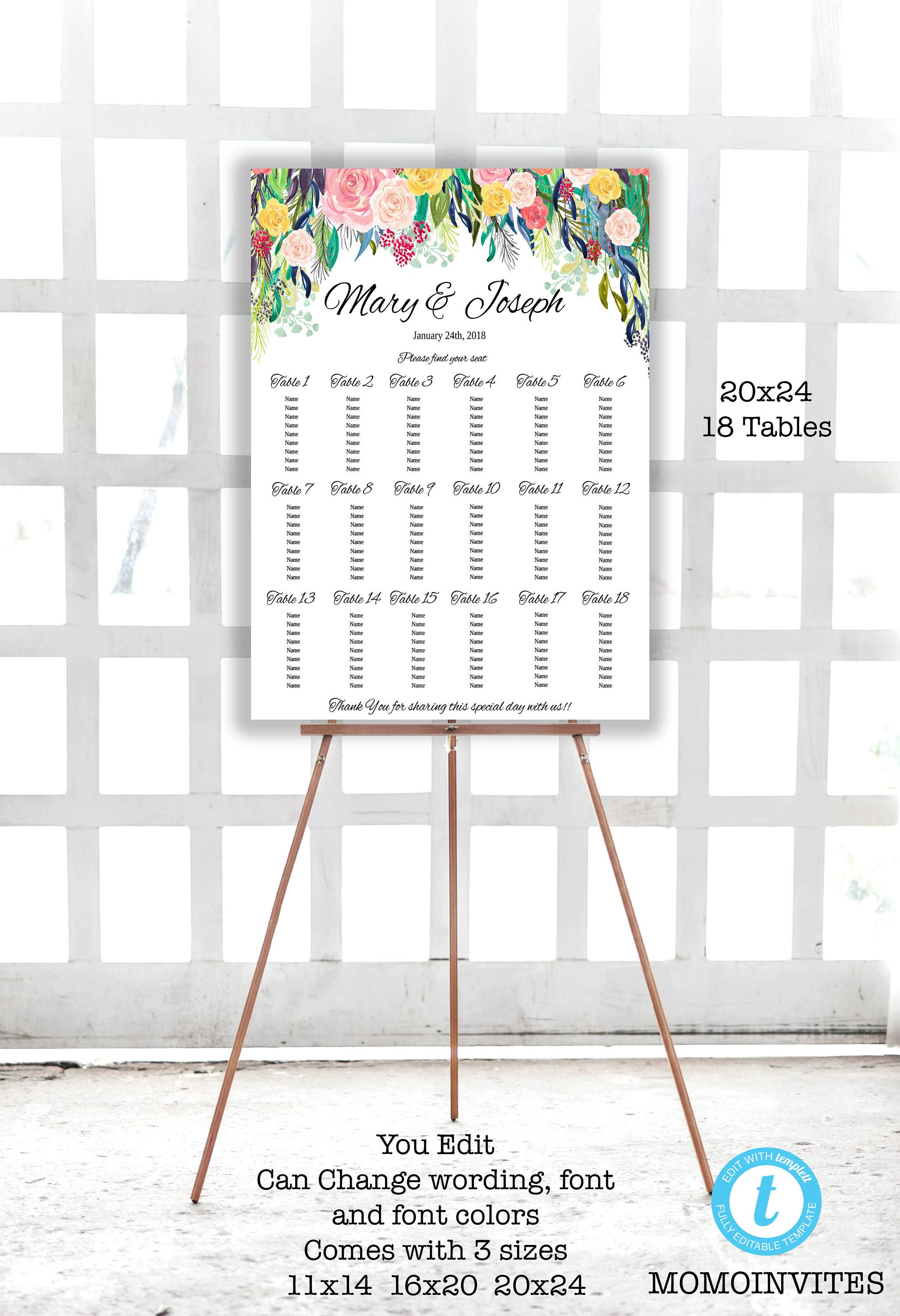 Floral Wedding Seating Chart, Seating Chart Template, Seating Board ...