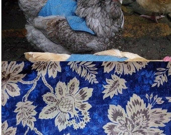 Big Flower on Blue Fabric- Chicken Apron/Saddle