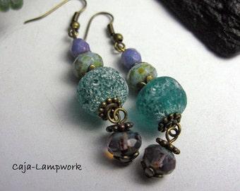Vintage earrings, tunics, turquoise-purple