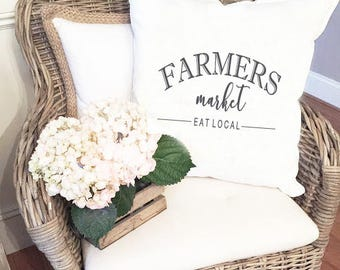 Custom Pillow Cover, Fall pillow cover, Farmers Market Eat Local pillow cover, decorative pillow cover, Farmhouse Style, Farmhouse Decor