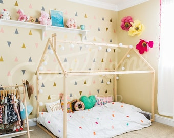 EXPRESS SHIPING Handmade bed TWIN, wood house bed, Montessori bed house, toddler bed, children furniture, kids teepee, frame bed, baby bed