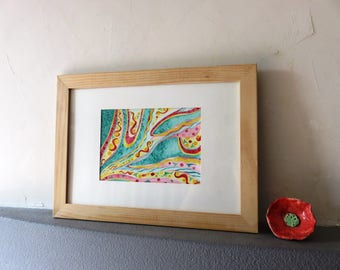 Original watercolor, abstract, multicolored, mosaic, modern, room decoration