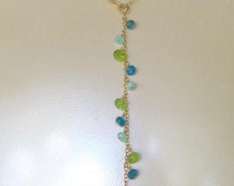 Lariat Necklace, Aqua Chalcedony Reversible Necklace, Special Occasion Necklace