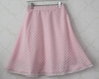Pastel Pink Polka dot Jr Skirt